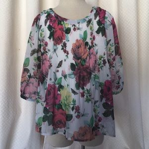 Ted Baker Girl's sheer lined floral top Sz 8 yr